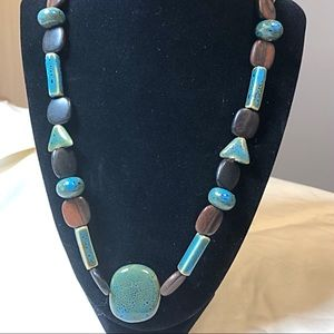 Jewelry - Stunning Turquoise and Wood Necklace